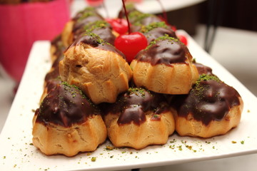 Eclair with chocolate sweet dessert
