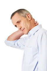 Mature man with neck pain