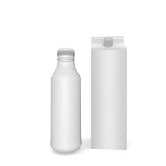 White blank milk box  with  bottle