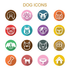 dog long shadow icons