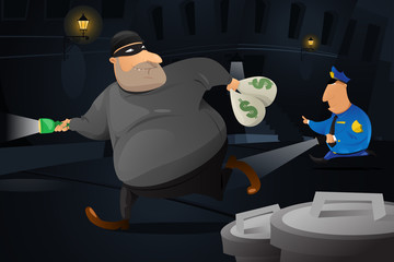 Policeman catching a robber in a dark alley