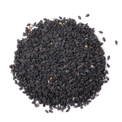 Black sesame seeds on white by top view