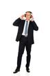 Full length businessman with big headphones