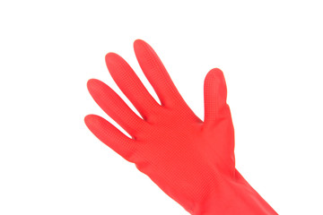 Hand in rubber glove isolated on white background