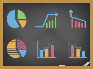 business diagram icons on blackboard