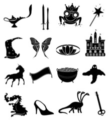 Fairy tale icons set