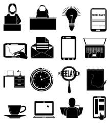 Freelance worker icons set