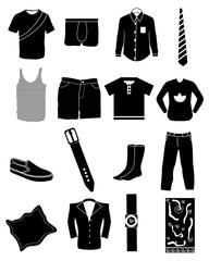 Mens fashion icons set