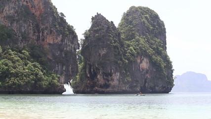 RAILAY,KRABI/THAILAND - OCTOBER 16 2014: people sail in kayak ne
