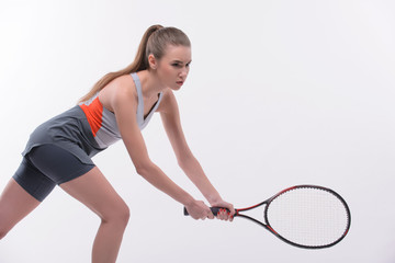 Tennis woman player with racket
