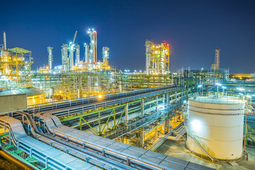 Refinery plant on night time