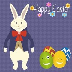 Rabbit in the suit and easter eggs