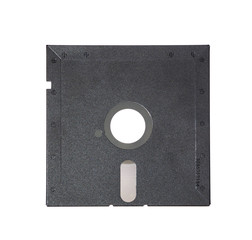 Old diskette 5-25 inches on white background.
