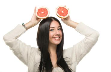 funny girl holding citrus