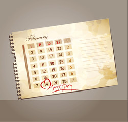 vector grunge background for Valentine's day, with the calendar