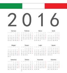 Simple italian 2016 year vector calendar