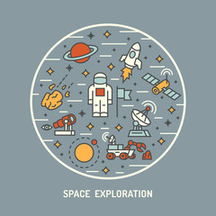 Space exploration. Vector illustration.