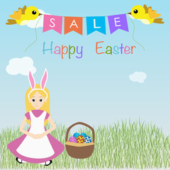kid in a rabbit suit sitting on the grass for happy easter sale