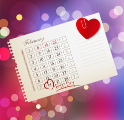 vector background for Valentine's day, with the calendar sheet a