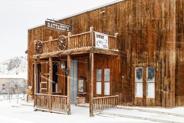 Saloon in snow flurries