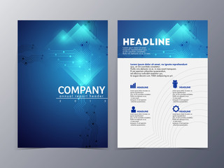 abstract blue brochure and flyer  design template vector