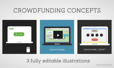 Vector crowdfunding concepts set. Online fund the project.