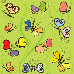 Seamless pattern with hearts and butterflies