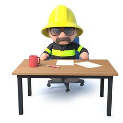 3d Fireman sits at his desk