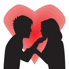 Silhouette Of Man And Women In Love. Vector Illustration