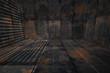 Creative 3D Dark Grungy Rusty Metal Room