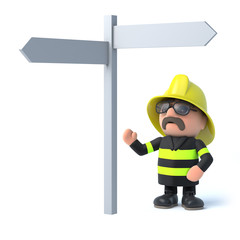 3d Fireman looks at the road sign