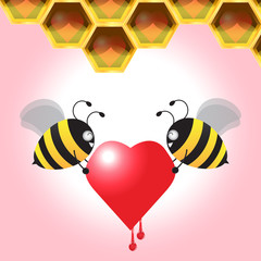 Two Bee Carrying Heart Back To The Honeycomb. Vector Illustratio