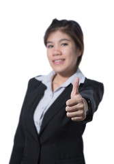 Young business woman thumb up hand, business concept of success