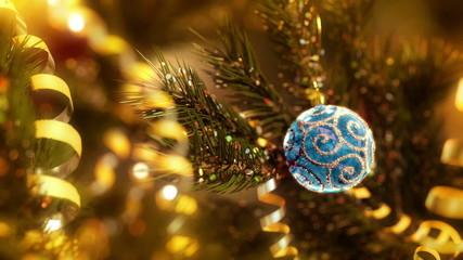 Blue Christmas ball and tree