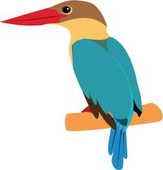 colorful stork-billed kingfisher vector