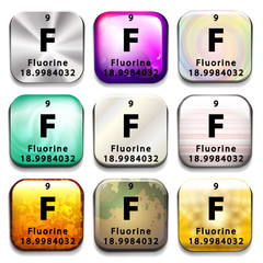 A button showing the element Fluorine