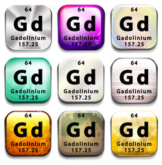 A button showing the element Gadolinium