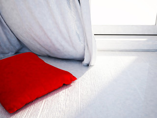 red pillow near the window