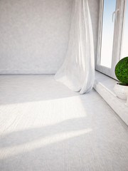 green plant is standing on the windowsill,