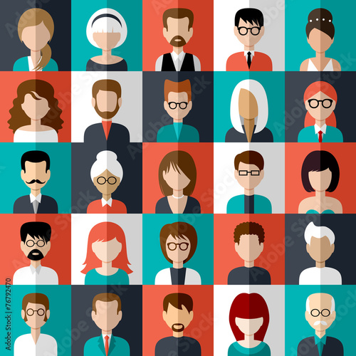Set of flat icons with people. - 76792470