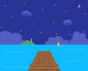桟橋 海 夜空