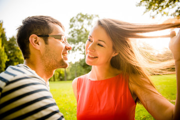 Young couple dating in nature