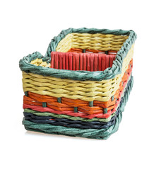 Colorful wicker basket