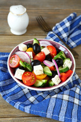 Delicious salad with fresh vegetables and feta