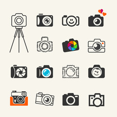 Photo camera icons set for web and infographics