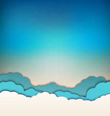vector background with decoration: sun, blue sky and clouds