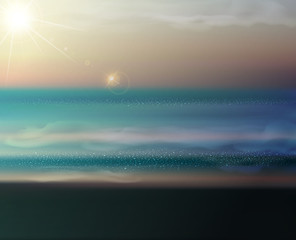 vector sea landscape with the setting sun