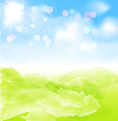 vector background with sun, blue sky