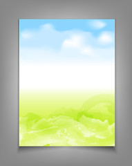 vector business template with blue sky and green grass