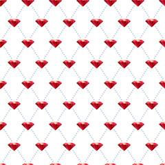 Seamless ruby pattern on white.